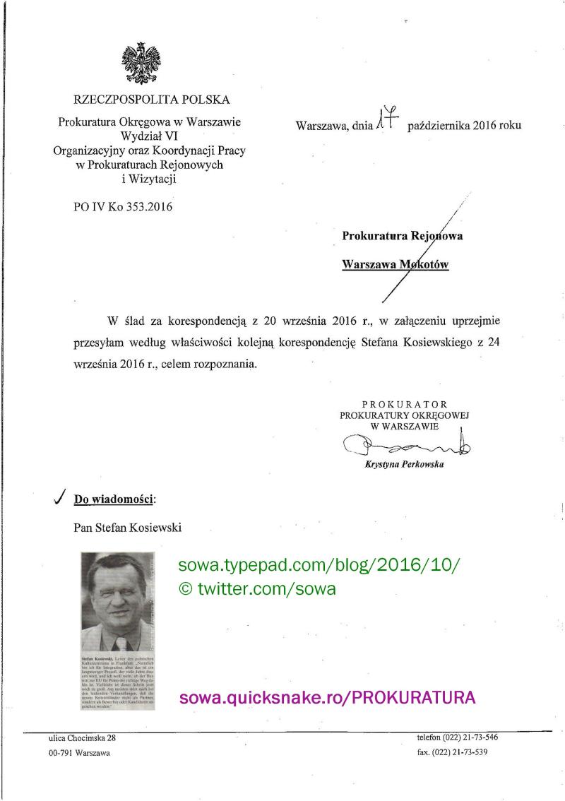 PO Warszawa 17.10.2016 Prok. Perkowska 2
