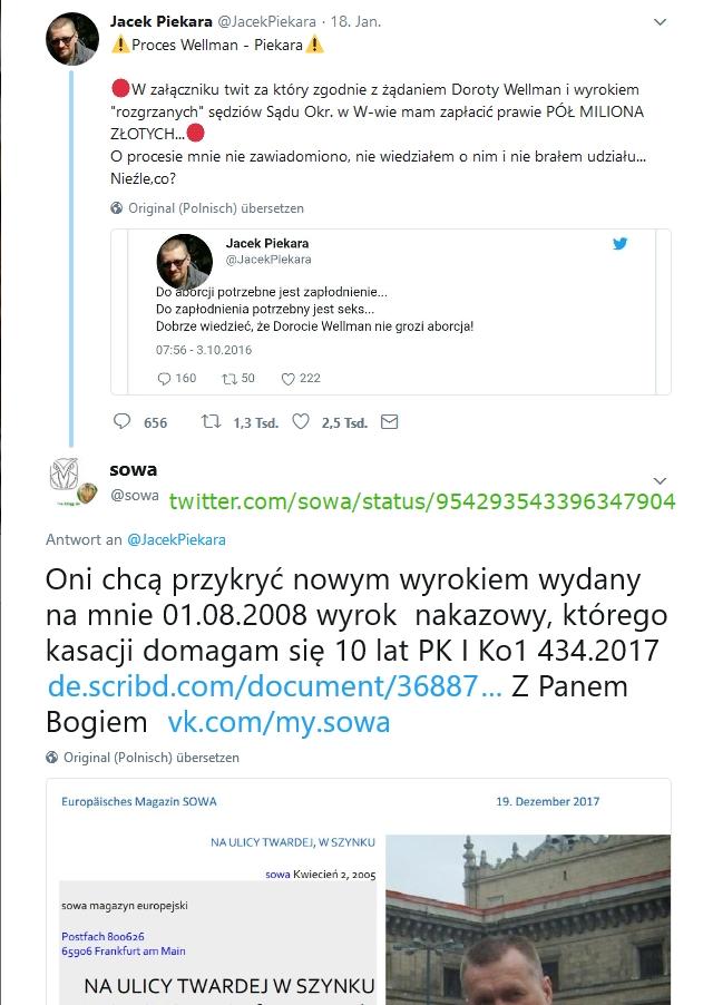 Stefan Kosiewski 2018-1-19 Jacek Piekara on Twitter