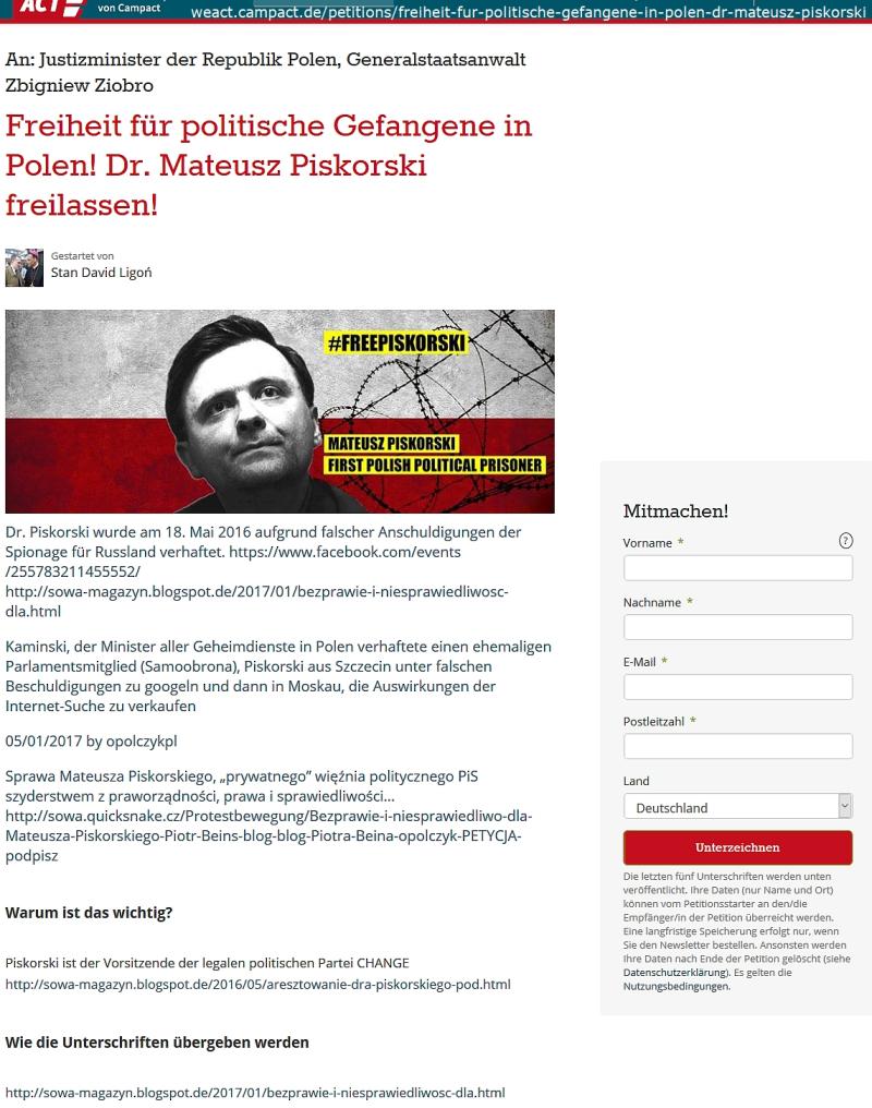 Politische Gefangene in Polen Dr Mateusz Piskorski freilassen