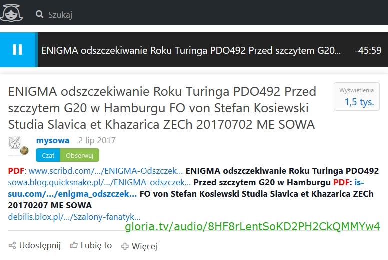 ENIGMA odszczekiwanie Roku Turinga PDO492 Przed szczytem G20 w Hamburgu FO von Stefan Kosiewski Stud