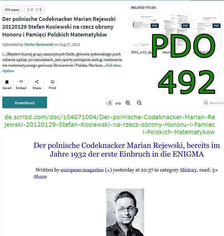 Pdo492 Der polnische Codeknacker Marian Rejewski 20120129 Stefan Kosiewski na rzecz obrony Honoru i
