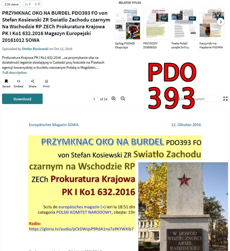 Pdo393 PRZYMKNAC OKO NA BURDEL PDO393 FO von Stefan Kosiewski ZR Swiatlo Zachodu czarnym Na Wschodzie RP ZEC[...]