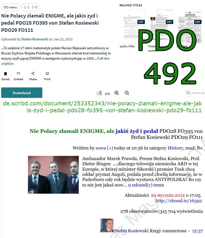 Pdo492 Nie Polacy zlamali ENIGME  ale jakis zyd i pedal PDO28 FO395 von Stefan Kosiewski PDO29 FO111