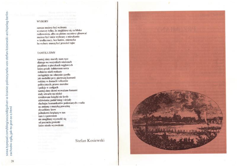 Stefan Kosiewski wiersze Archipelag 1984 ad